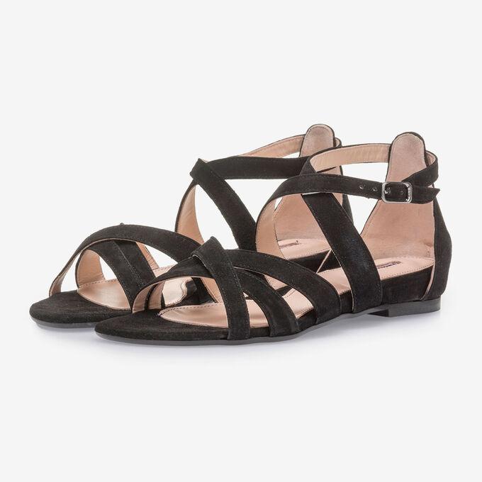 Zwarte suède sandaal