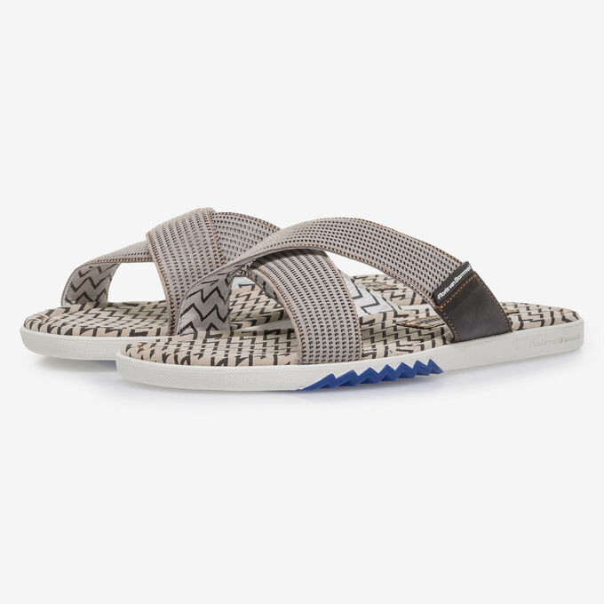 Beige suede leather cross strap slipper with print
