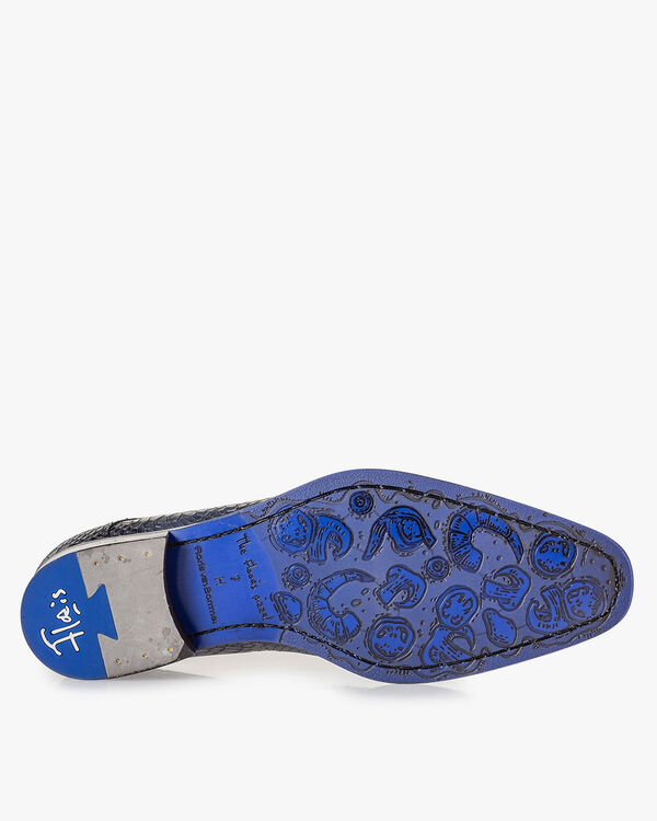 Veterschoen metallic blauw