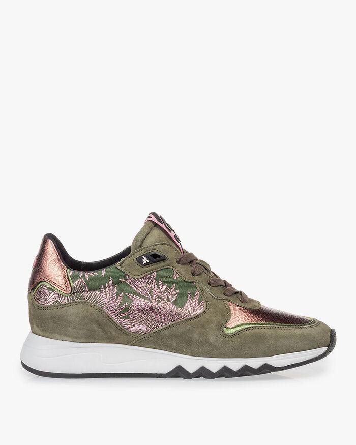 Sneaker olijfgroen met print