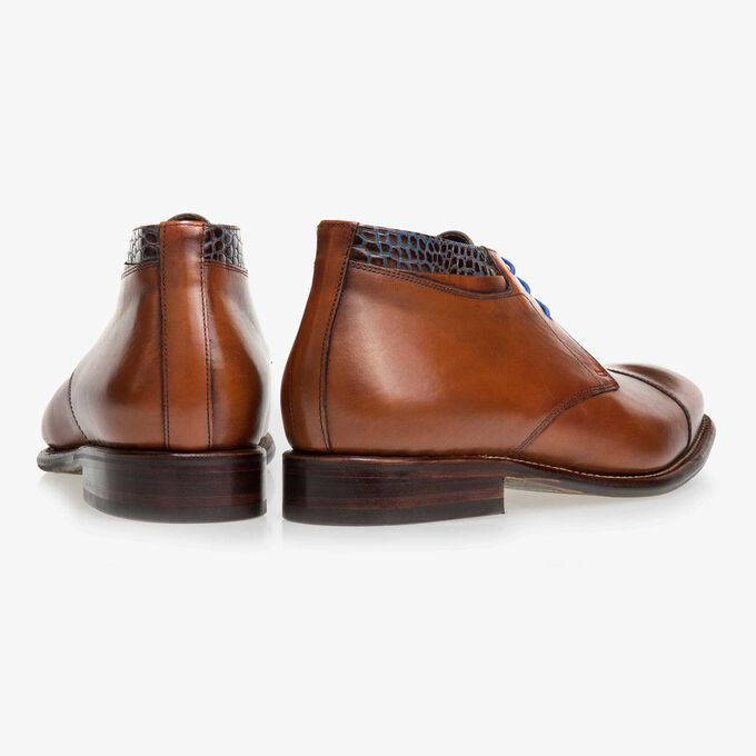 Floris van Bommel brown leather men's lace-up boot