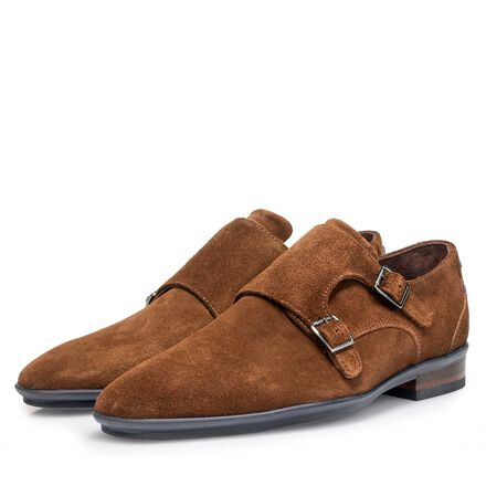 Calf suede leather double buckle monk strap