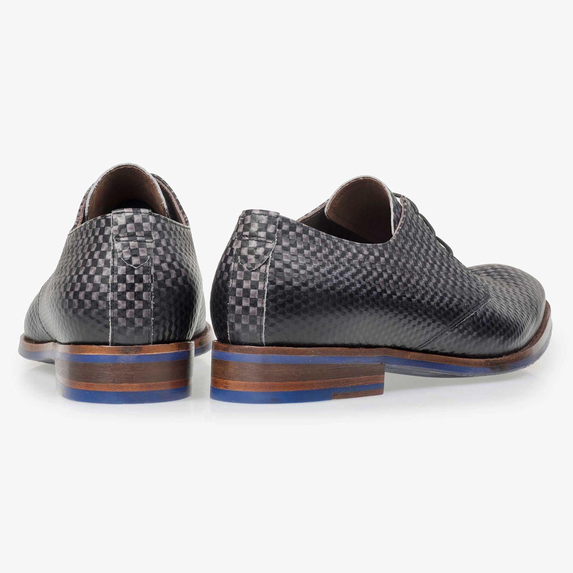 Floris van Bommel men's dark grey leather lace shoe