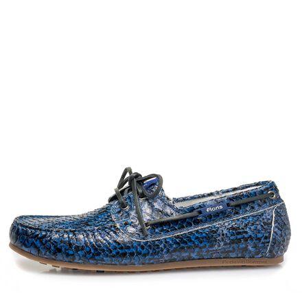 Kalfsleren bootschoen met snakeprint