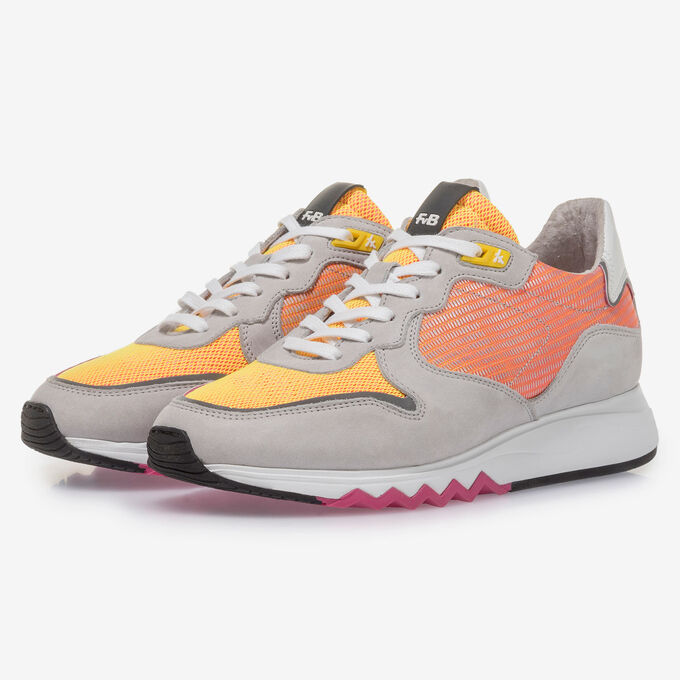Grey leather sneaker with orange and yellow details