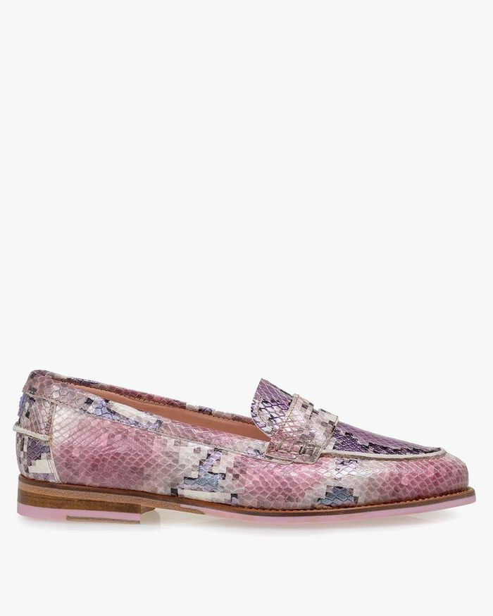 Loafer printed leather pink