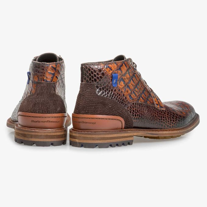 Cognac-coloured leather lace boot with croco print