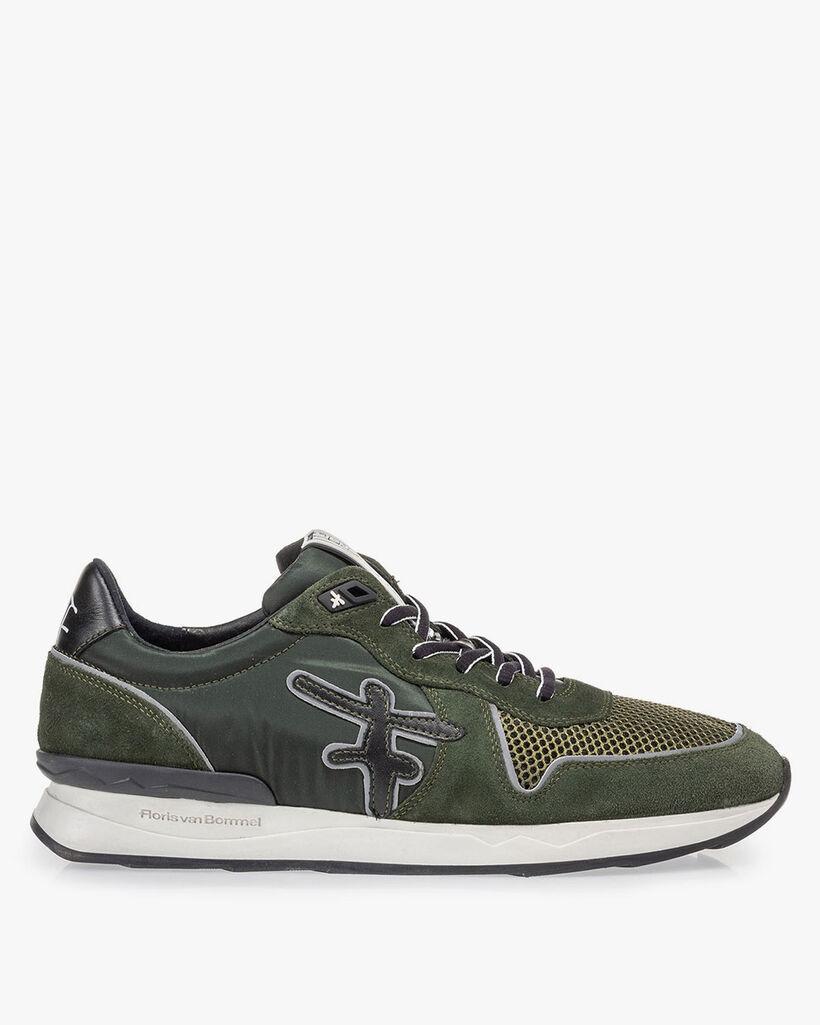 Sneaker donkergroen suède