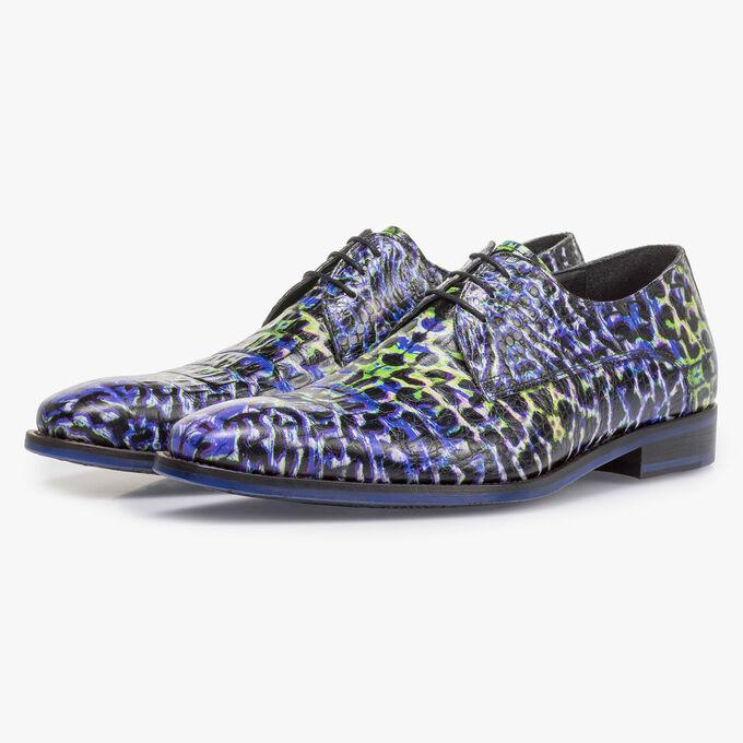 Premium blauwe veterschoen met crocoprint