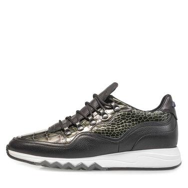 Premium metallic leren sneaker met print