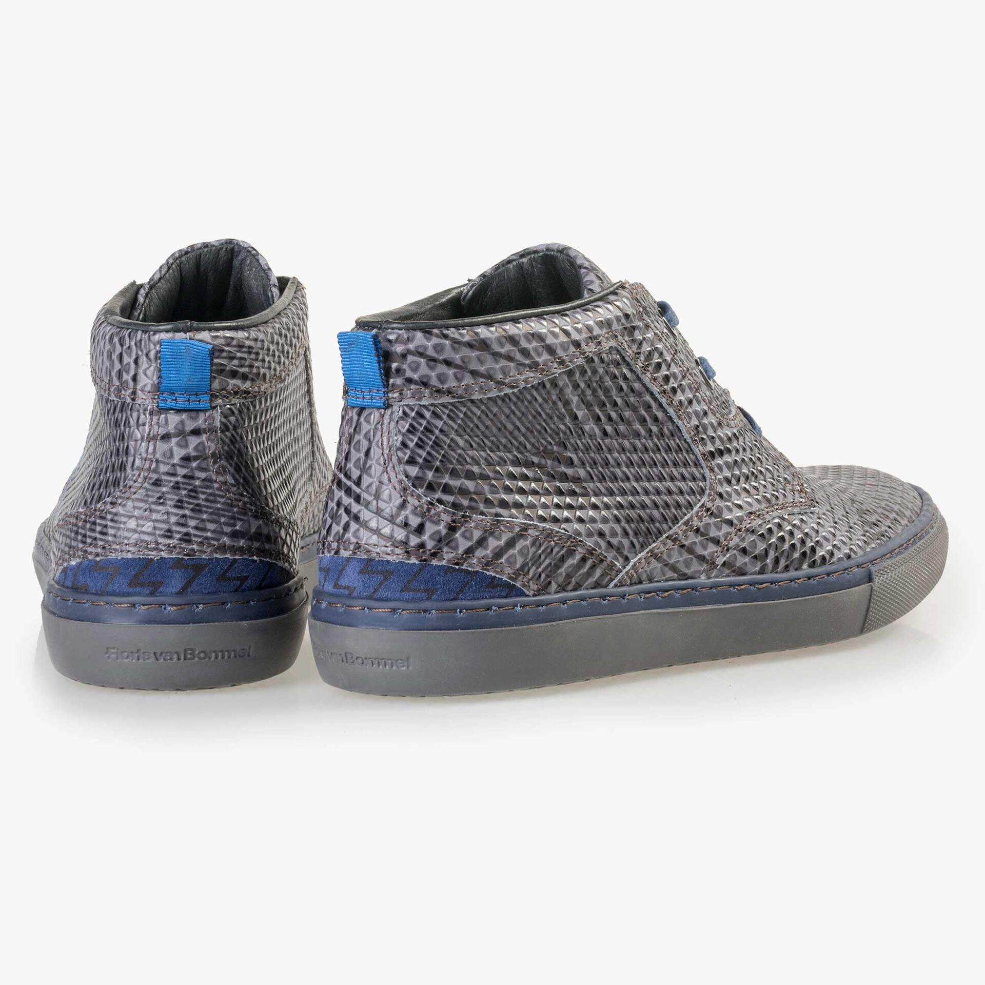 Floris van Bommel men's grey leather lace boot finished with a striped pattern