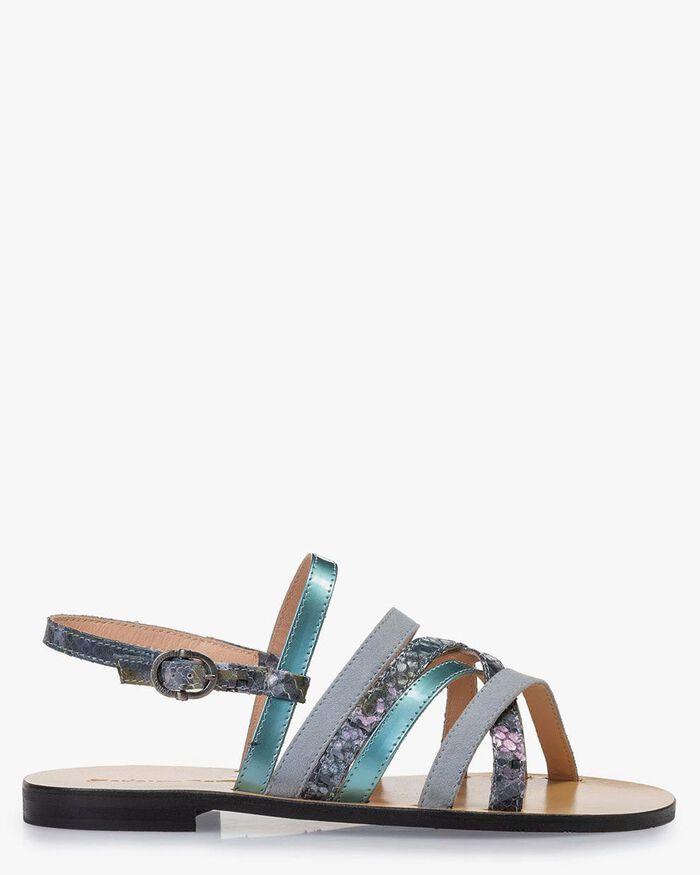 Sandaal geprint leer blauw