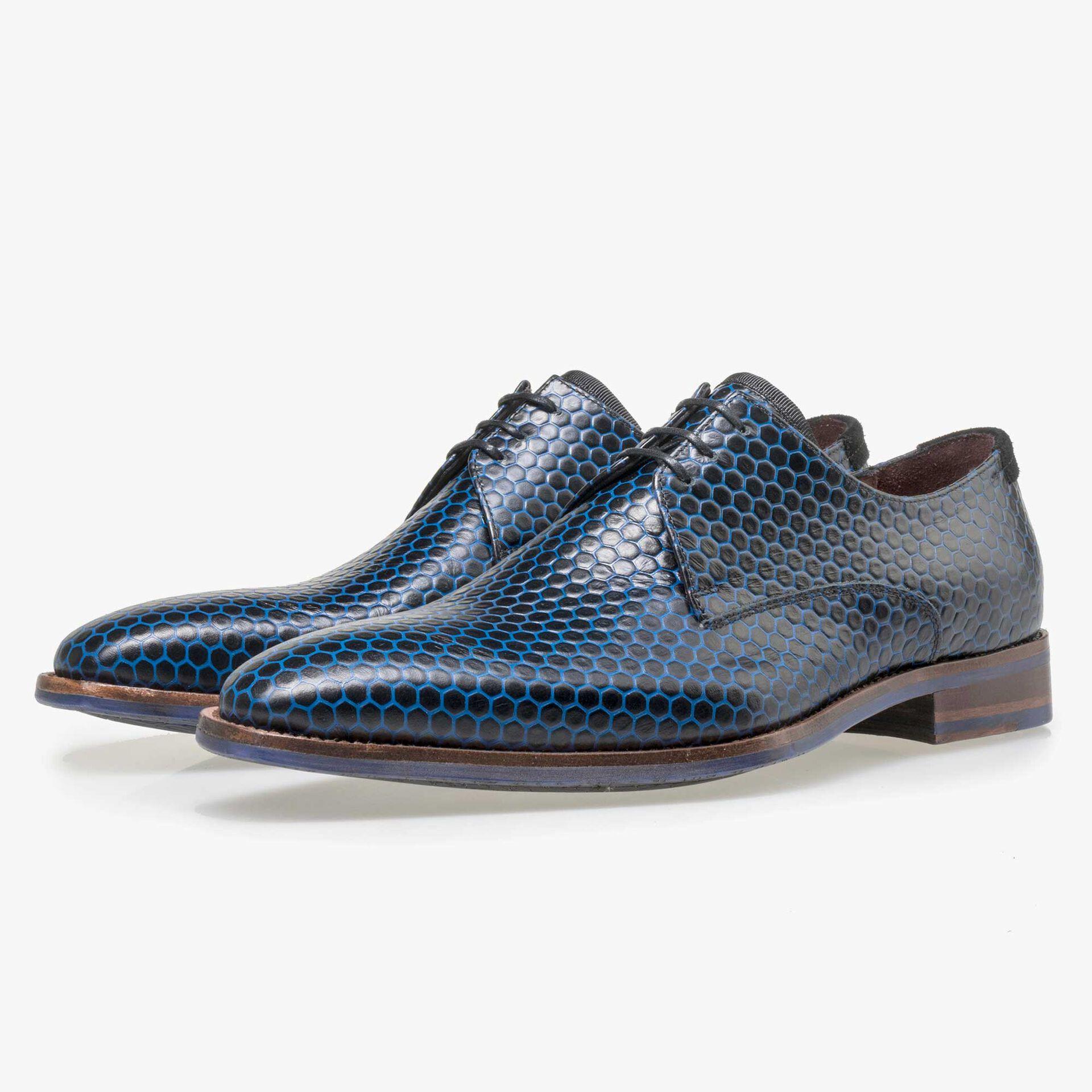 Floris van Bommel black calf's leather lace shoe finished with blue hexagon print