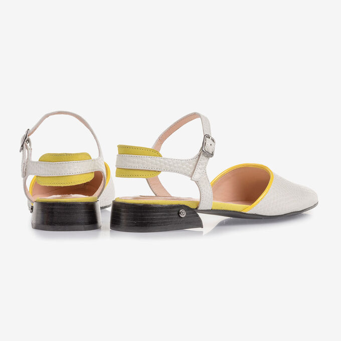 Leren sandaal off-white met print