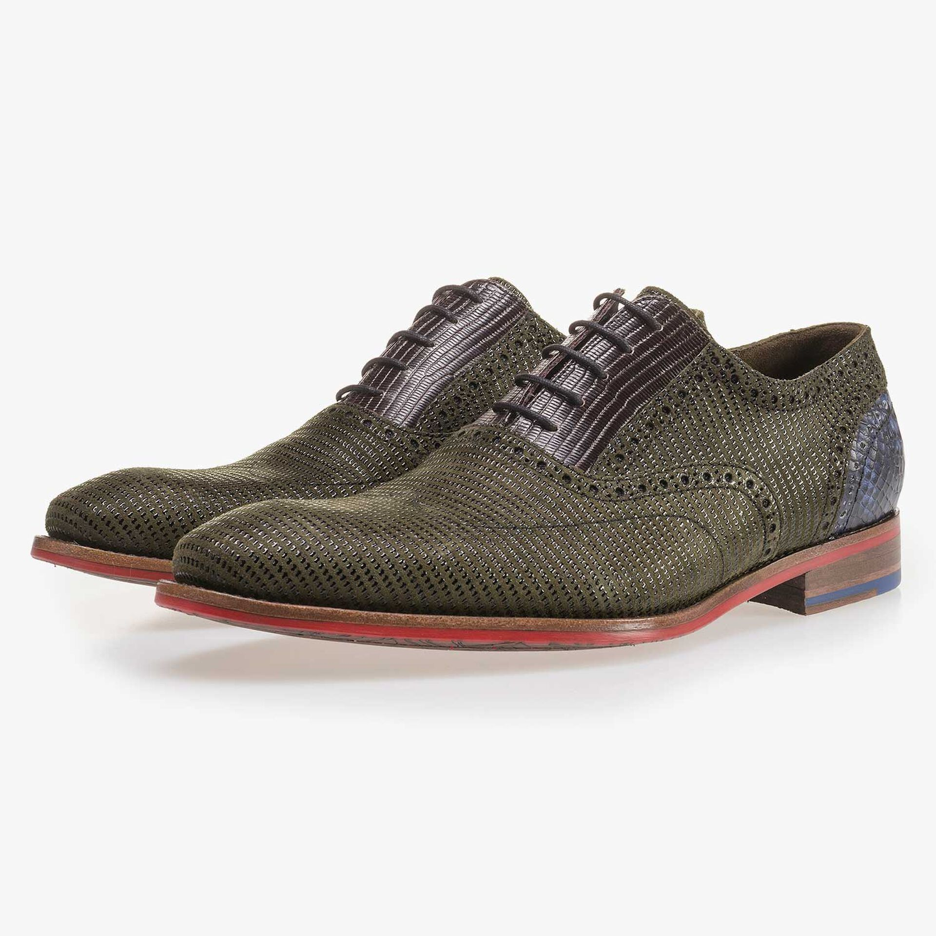 Olive green patterned suede leather lace shoe