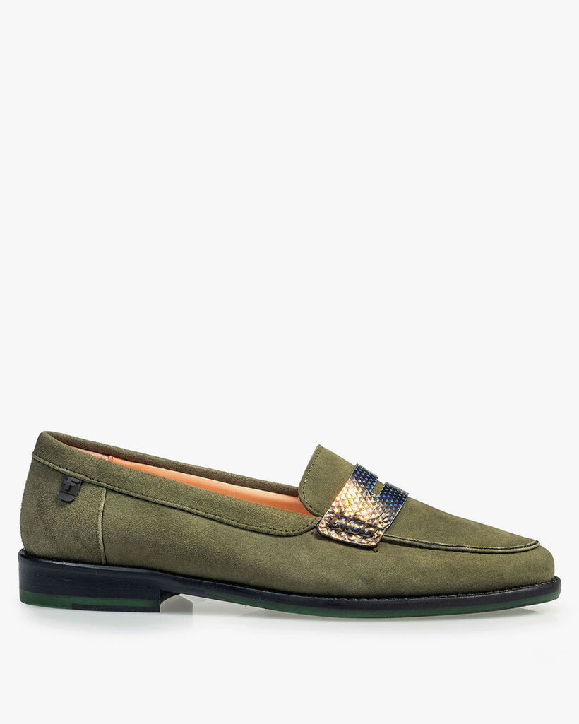Olive green suede leather loafer