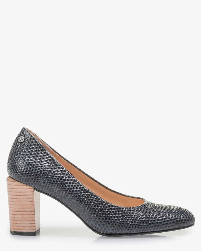 Dark blue leather pumps with print
