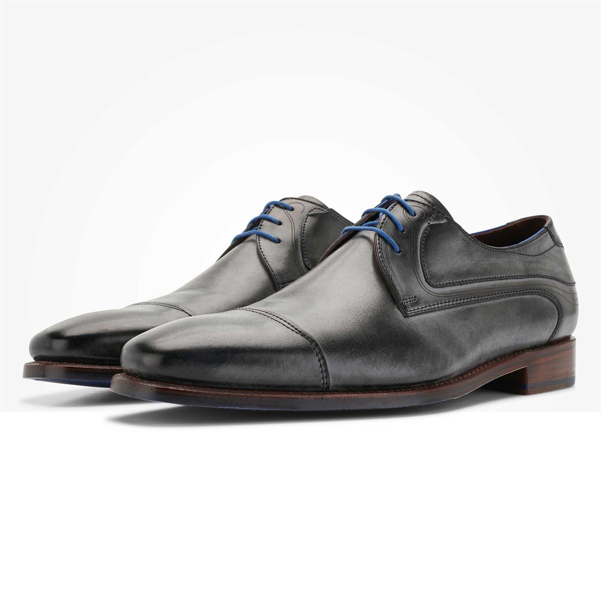 Floris van Bommel anthracite grey men's leather lace shoe