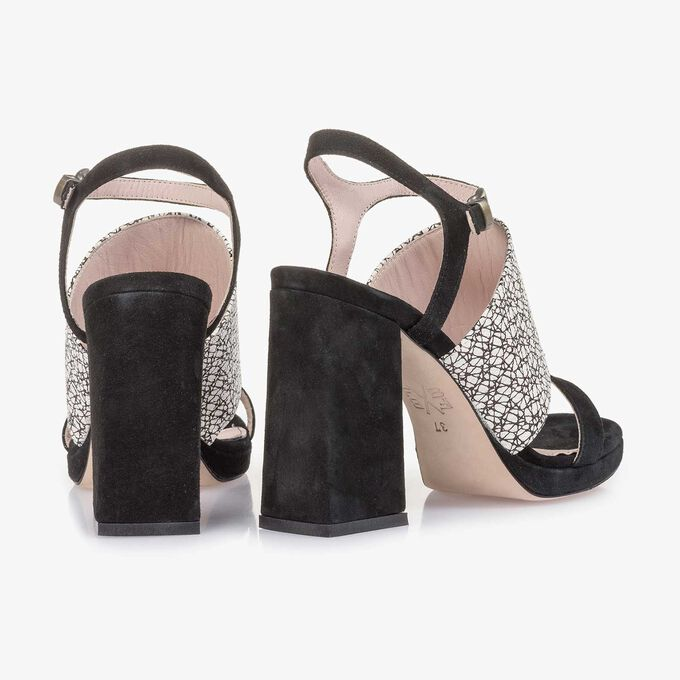 Zwarte/witte suède sandaal met hak met print