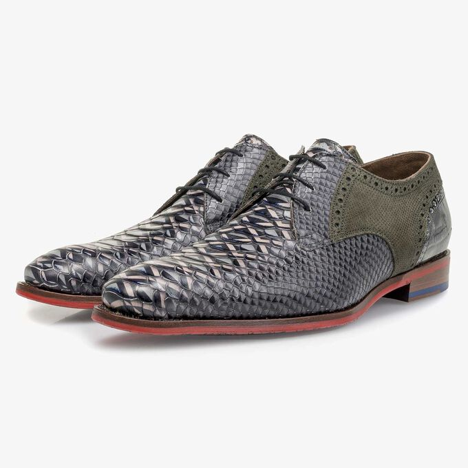 Grey snake print leather lace shoe