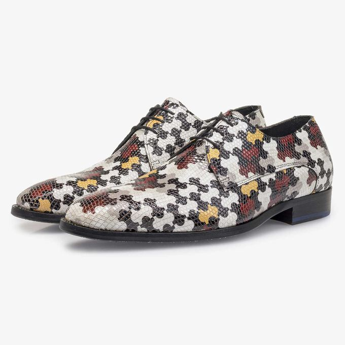 White calf leather lace shoe with multi-coloured print