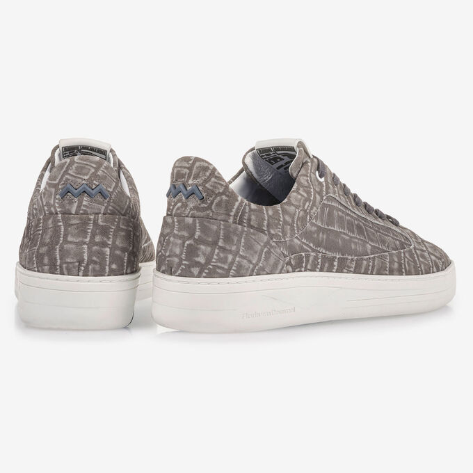 Dark grey sneaker with croco print