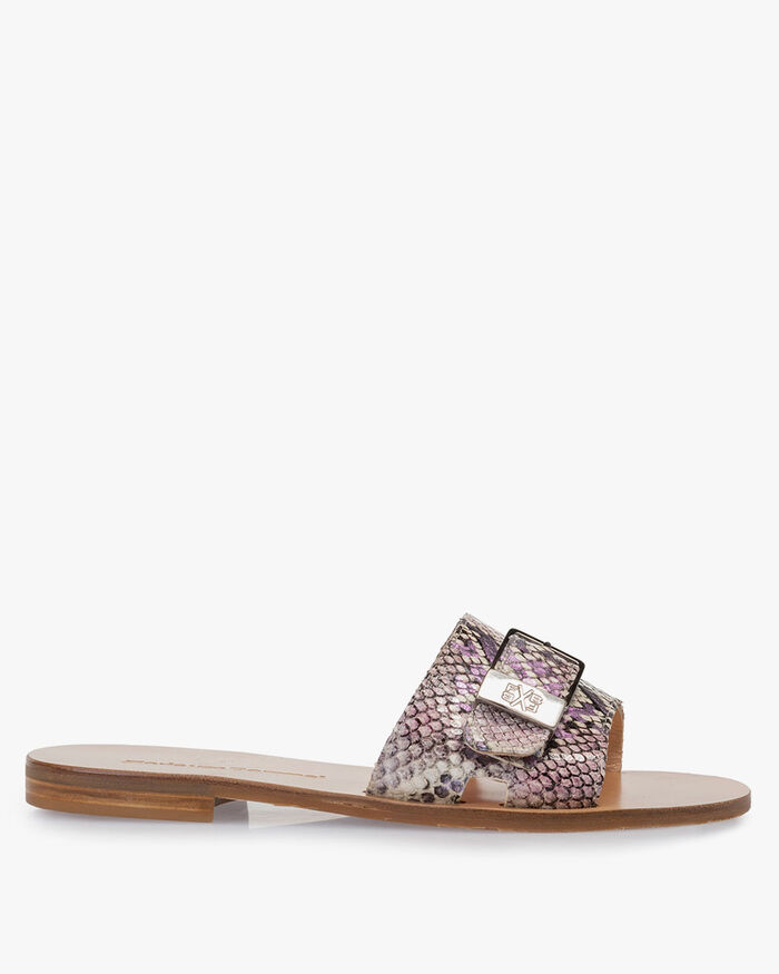 Slipper printed leather pink