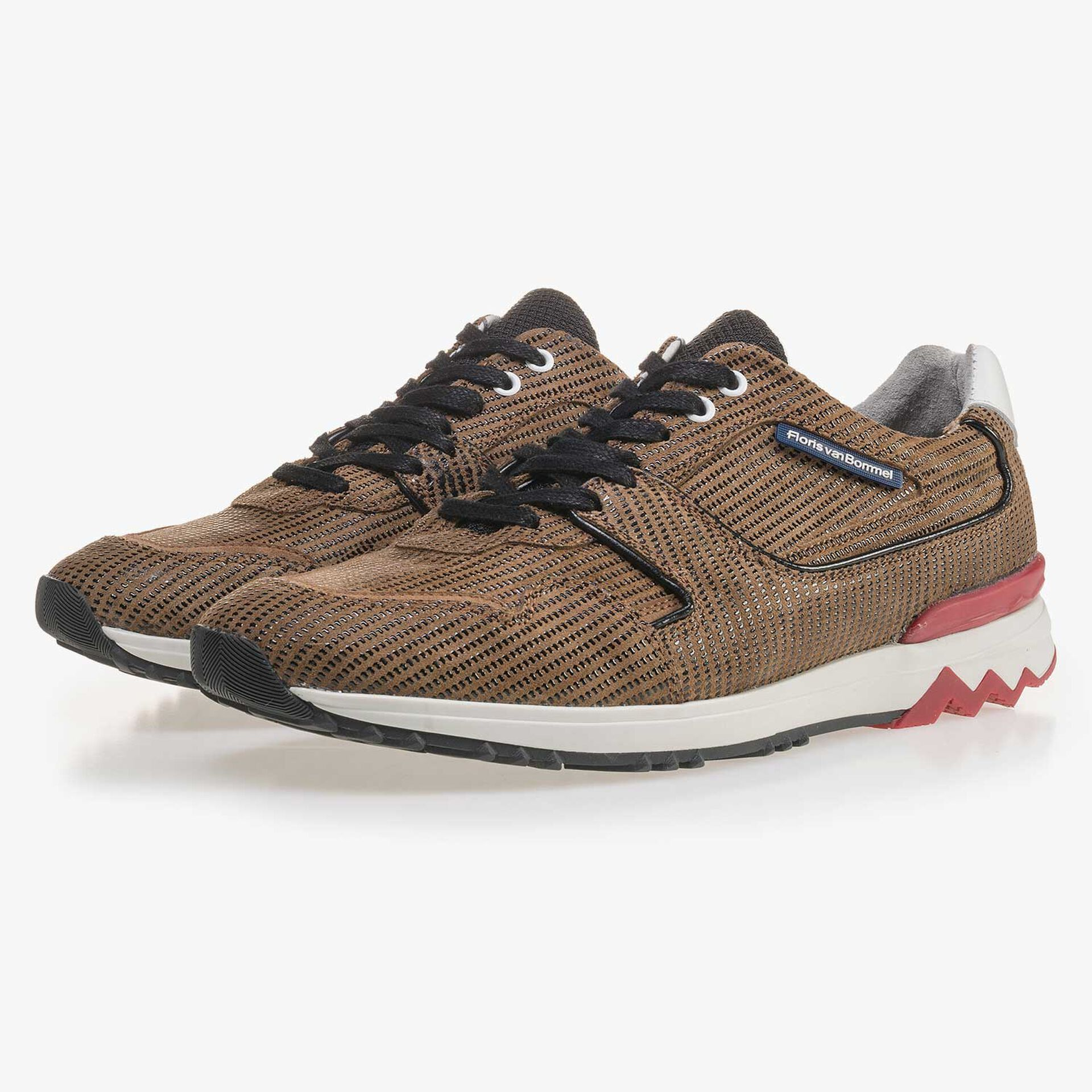 Brown, patterned suede leather sneaker