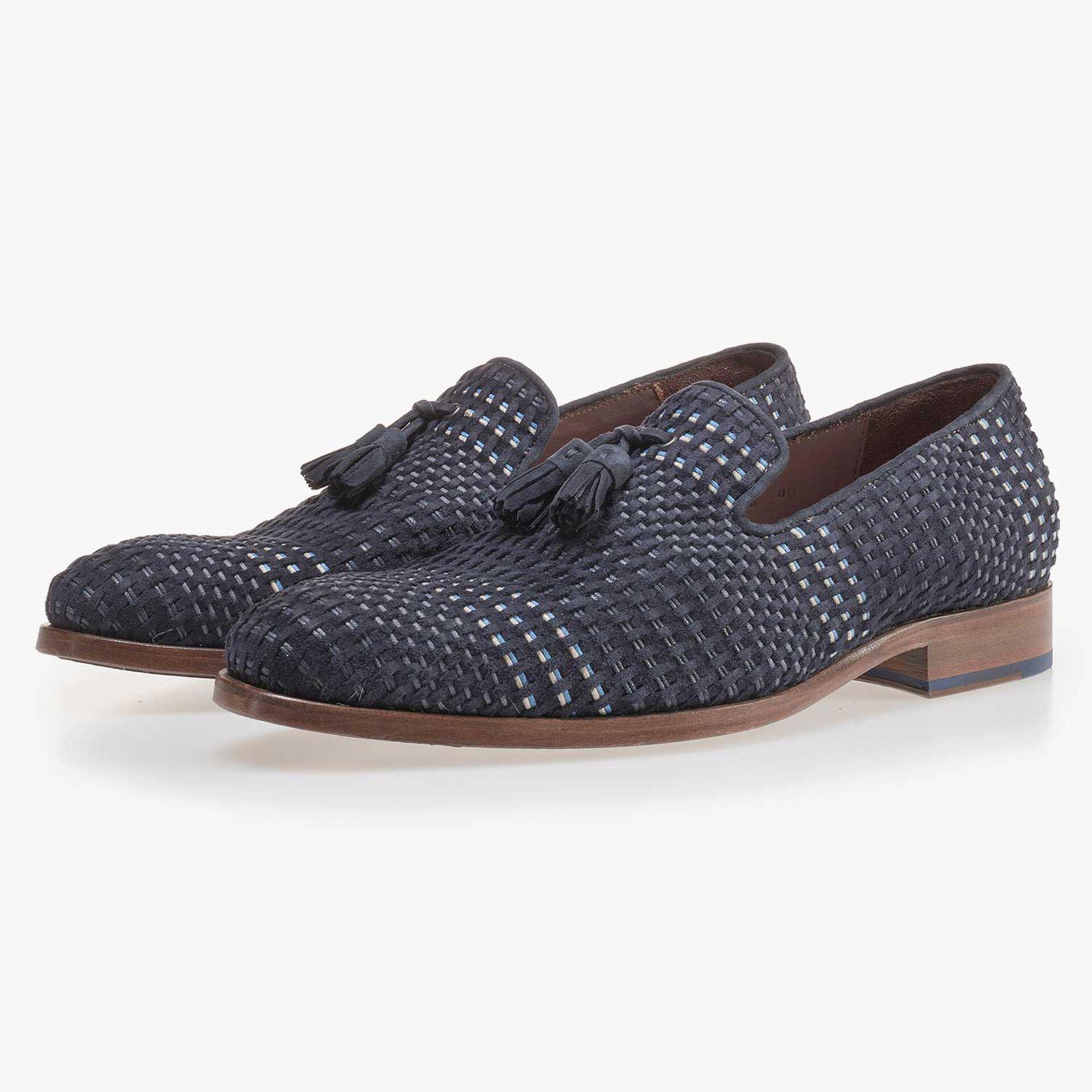 Dark blue braided suede leather loafer