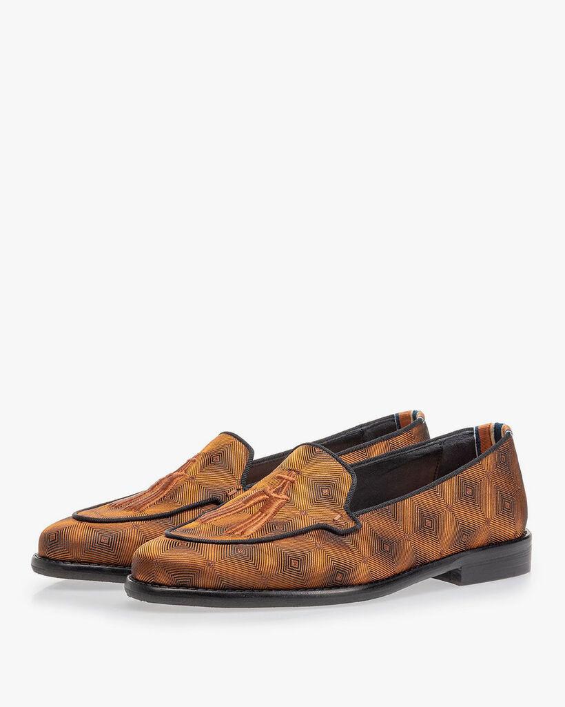 Loafer bruin textiel met print