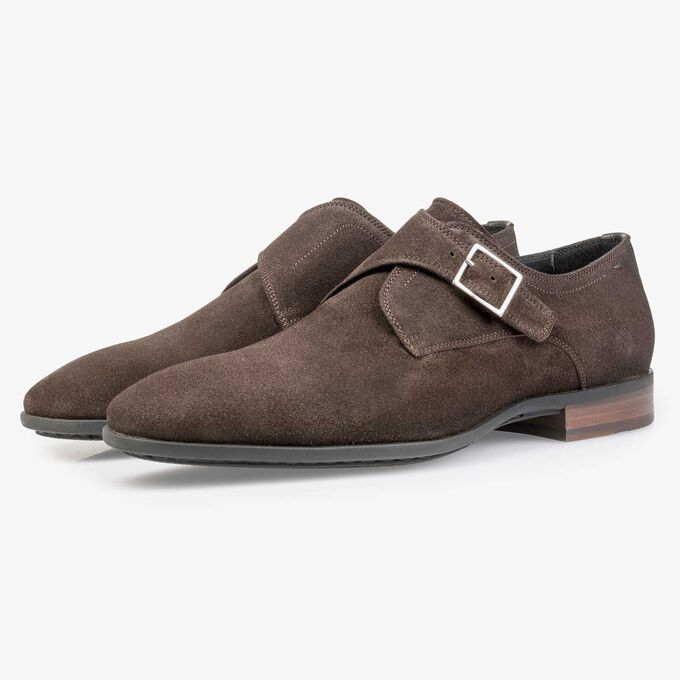 Dark brown waxed suede leather monk strap