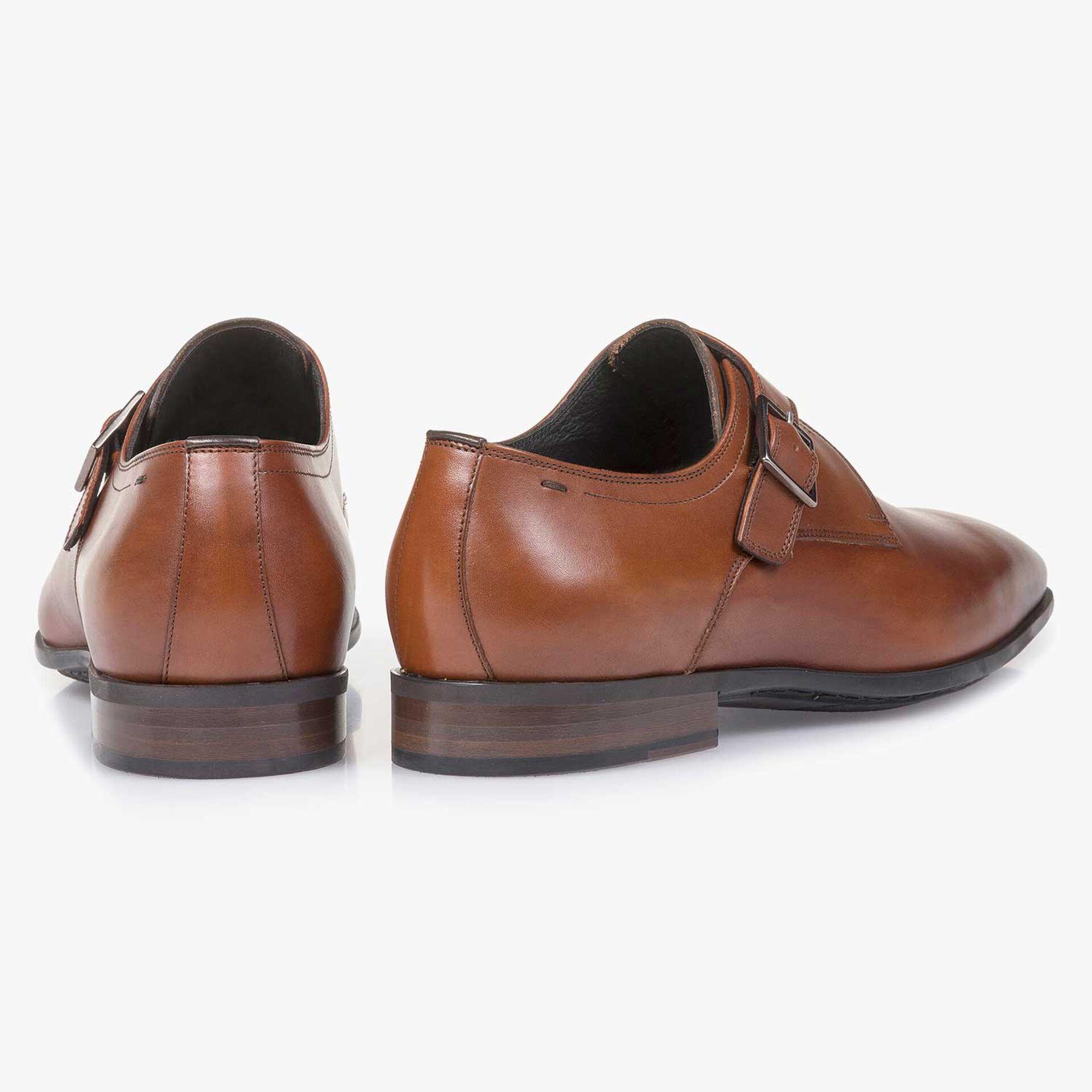 Cognac-coloured calf leather monk strap