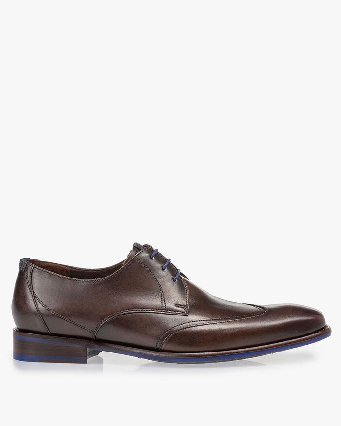 Lace shoe dark brown calf leather