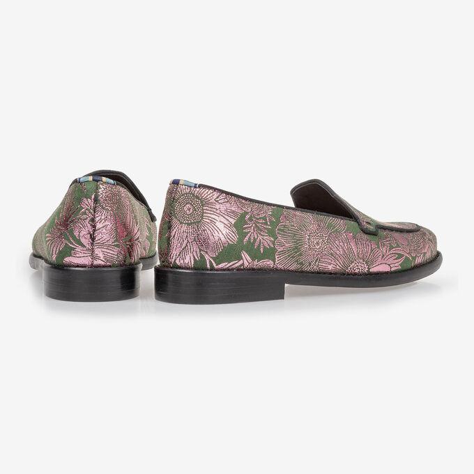Loafer groen suède met print