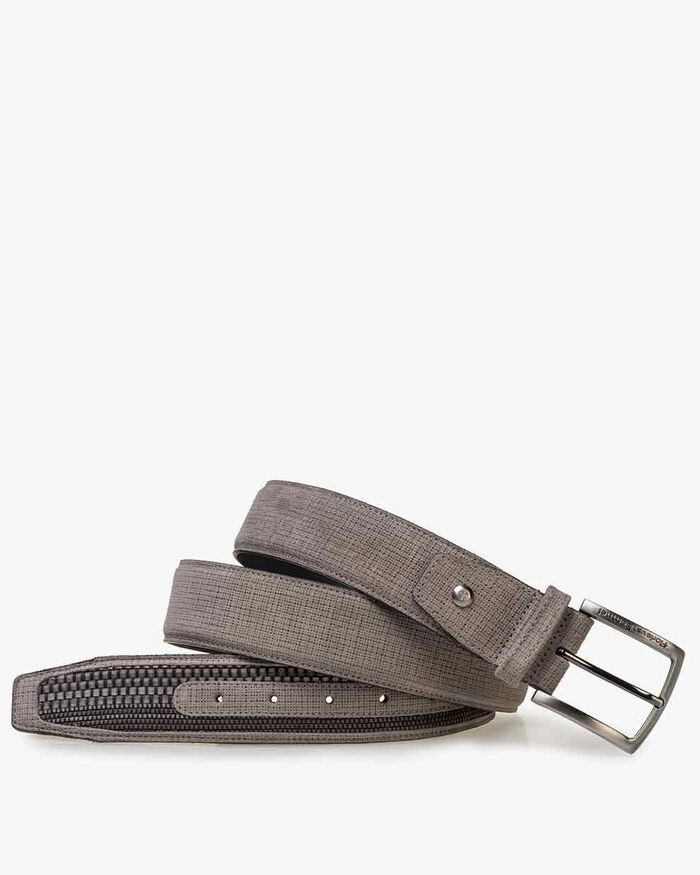 Belt suede leather light grey