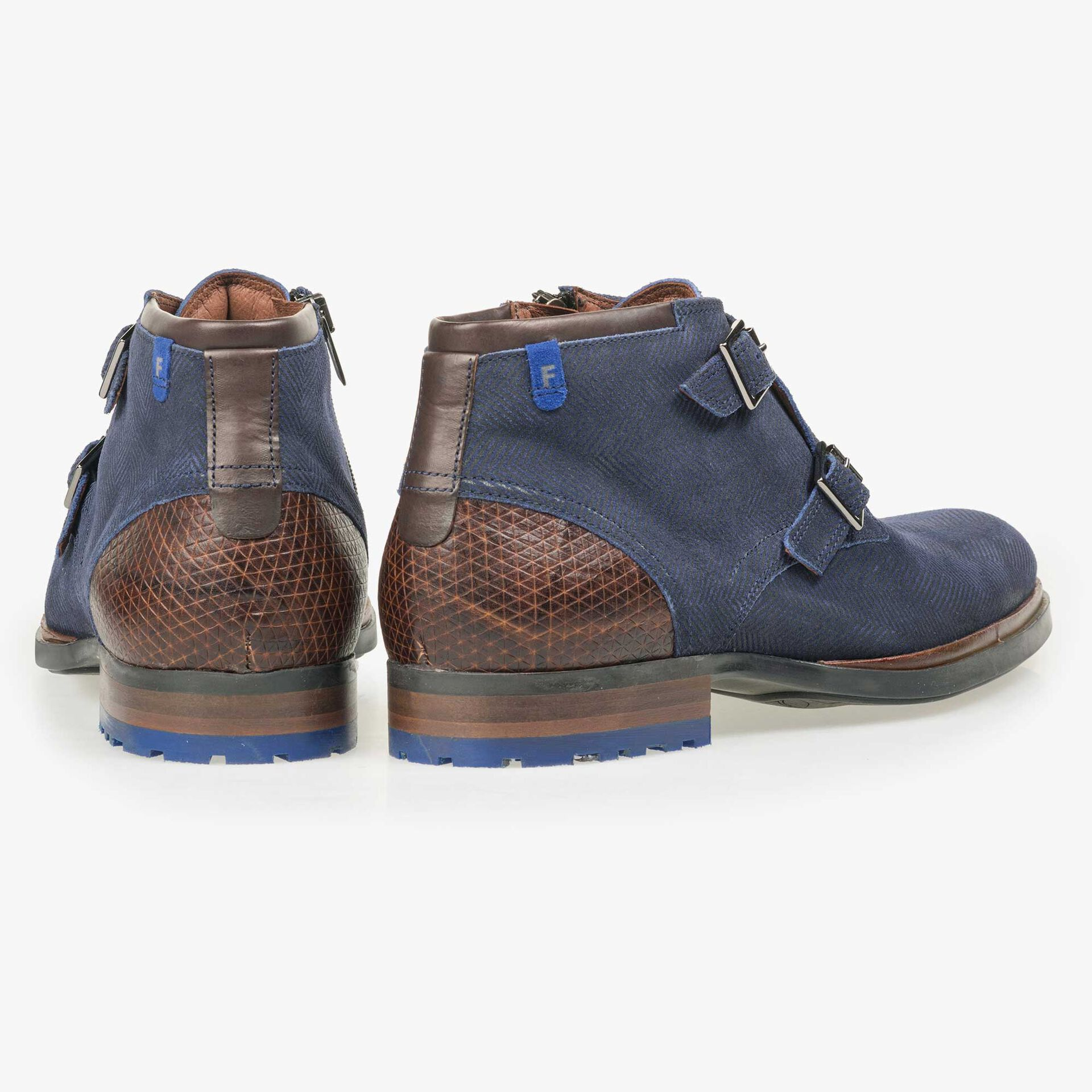 Floris van Bommel men's blue suede leather zip boot