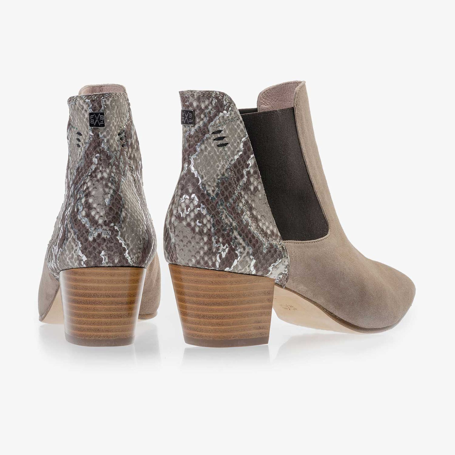 Taupe-coloured calf's suede leather Chelsea boot