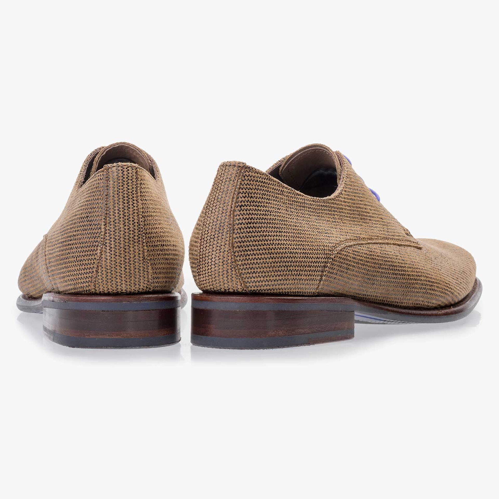 Brown lace shoe made of suede leather
