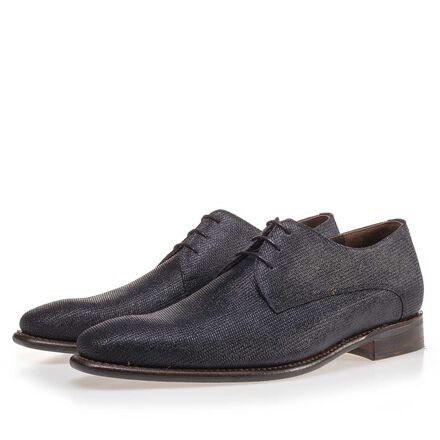 Patterned suede leather lace shoe