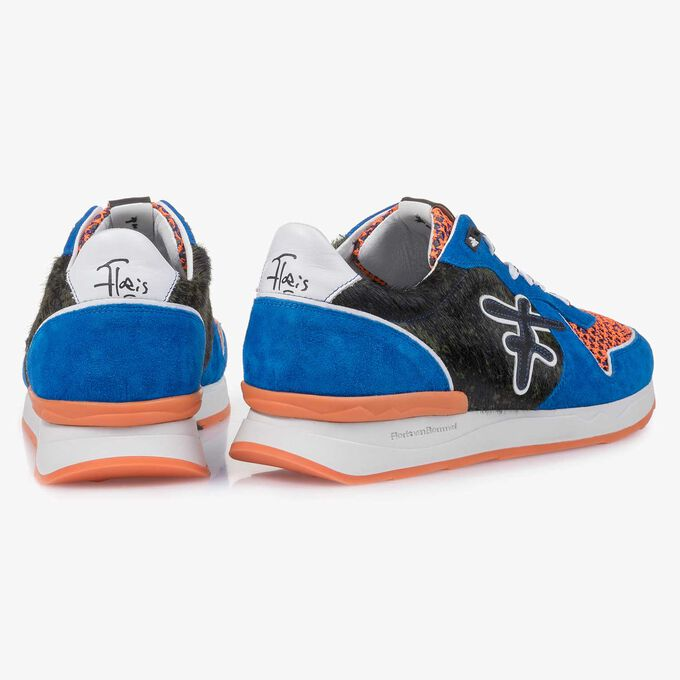 Blue premium suede leather sneaker with color accents