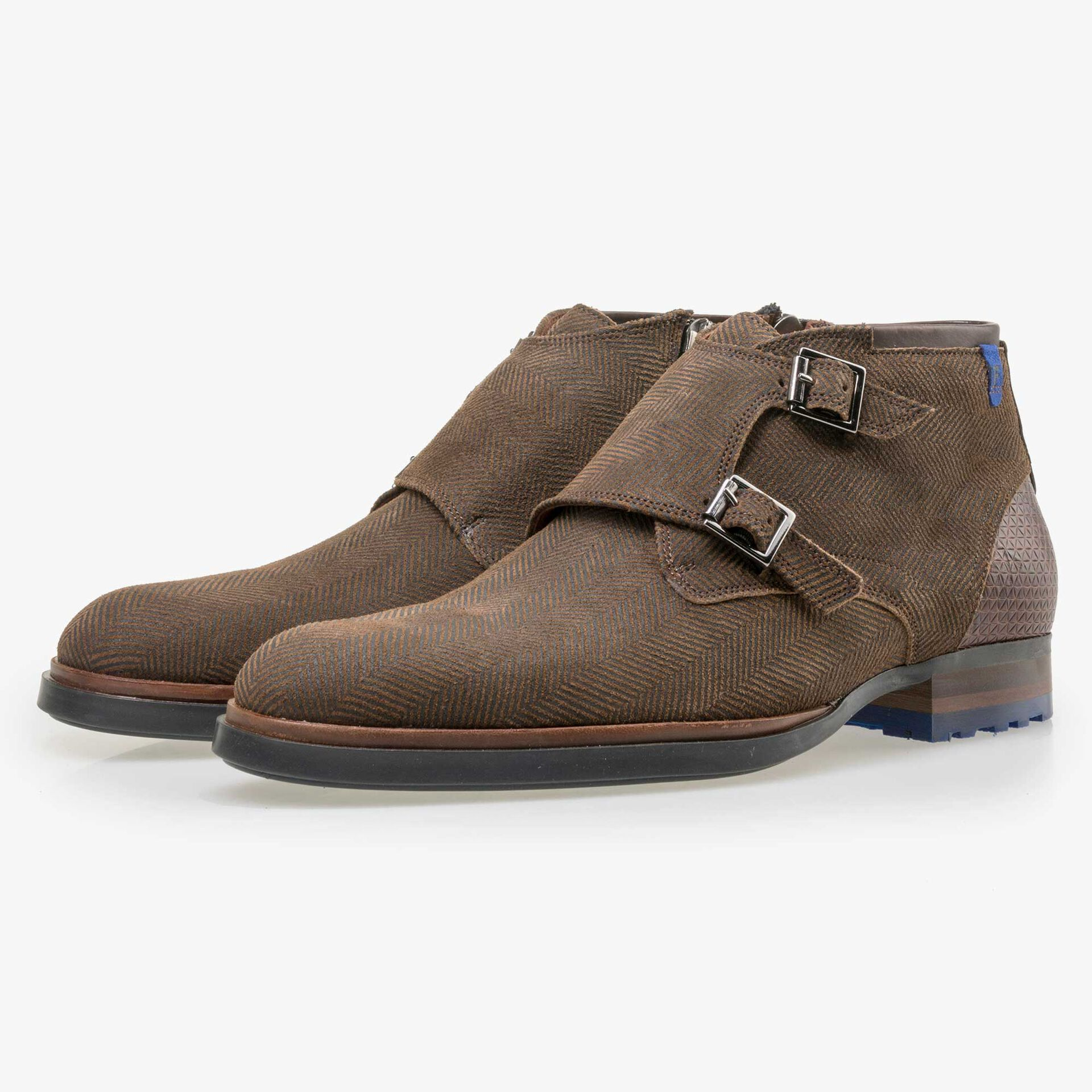 Floris van Bommel men's  brown suede leather zip boot