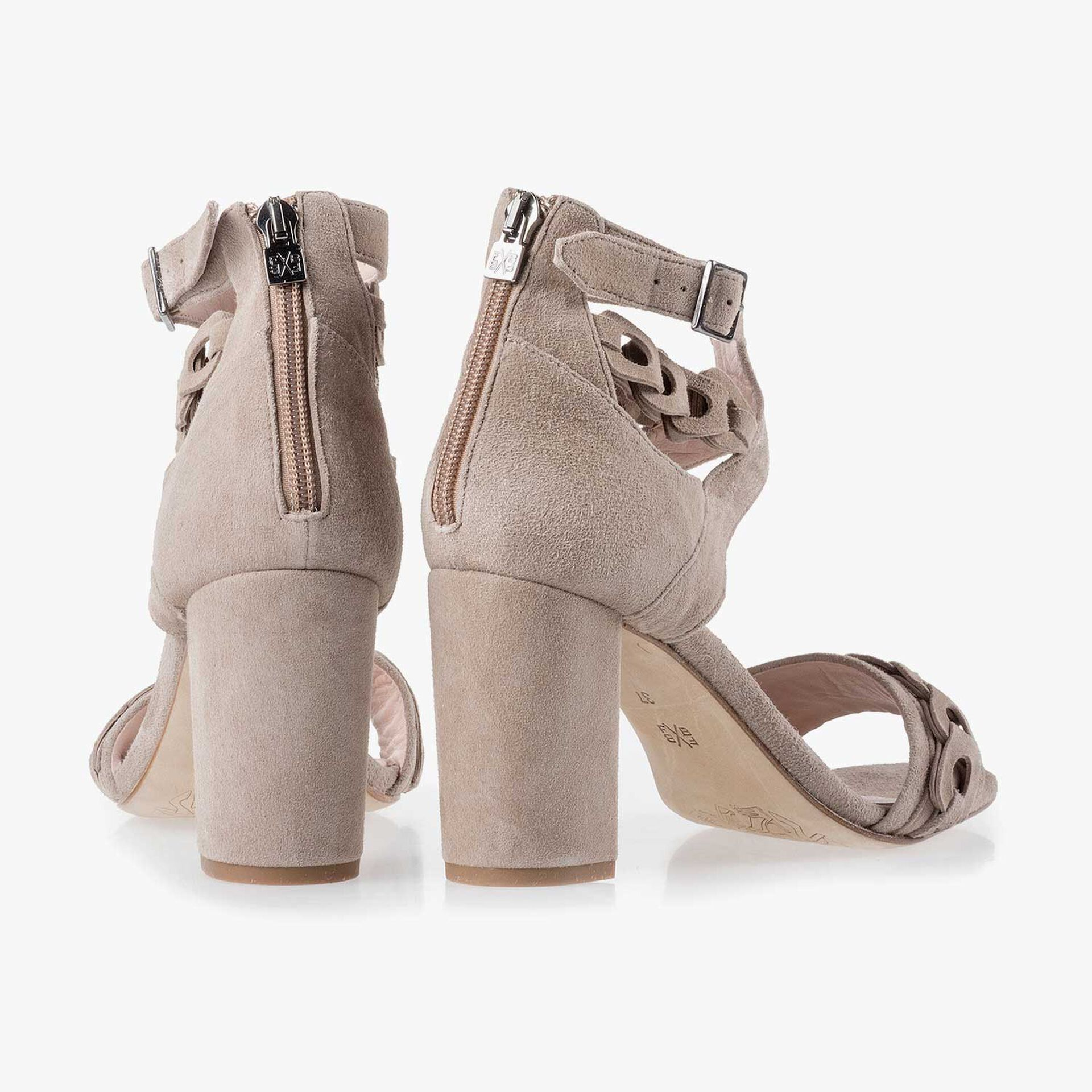 Taupe-coloured calf's suede leather sandal
