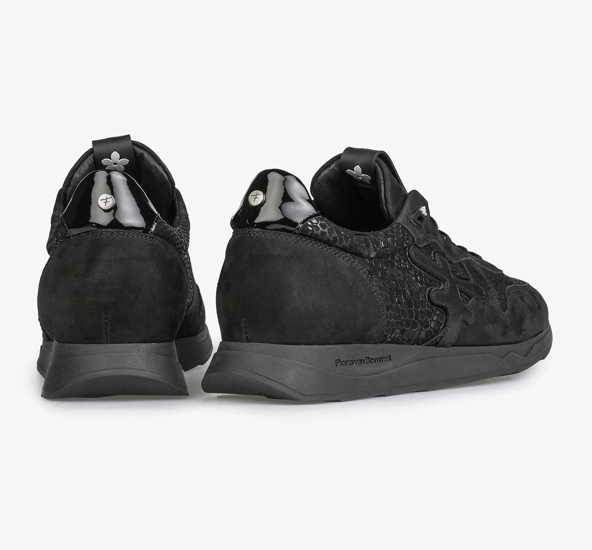Black leather sneaker with snake print