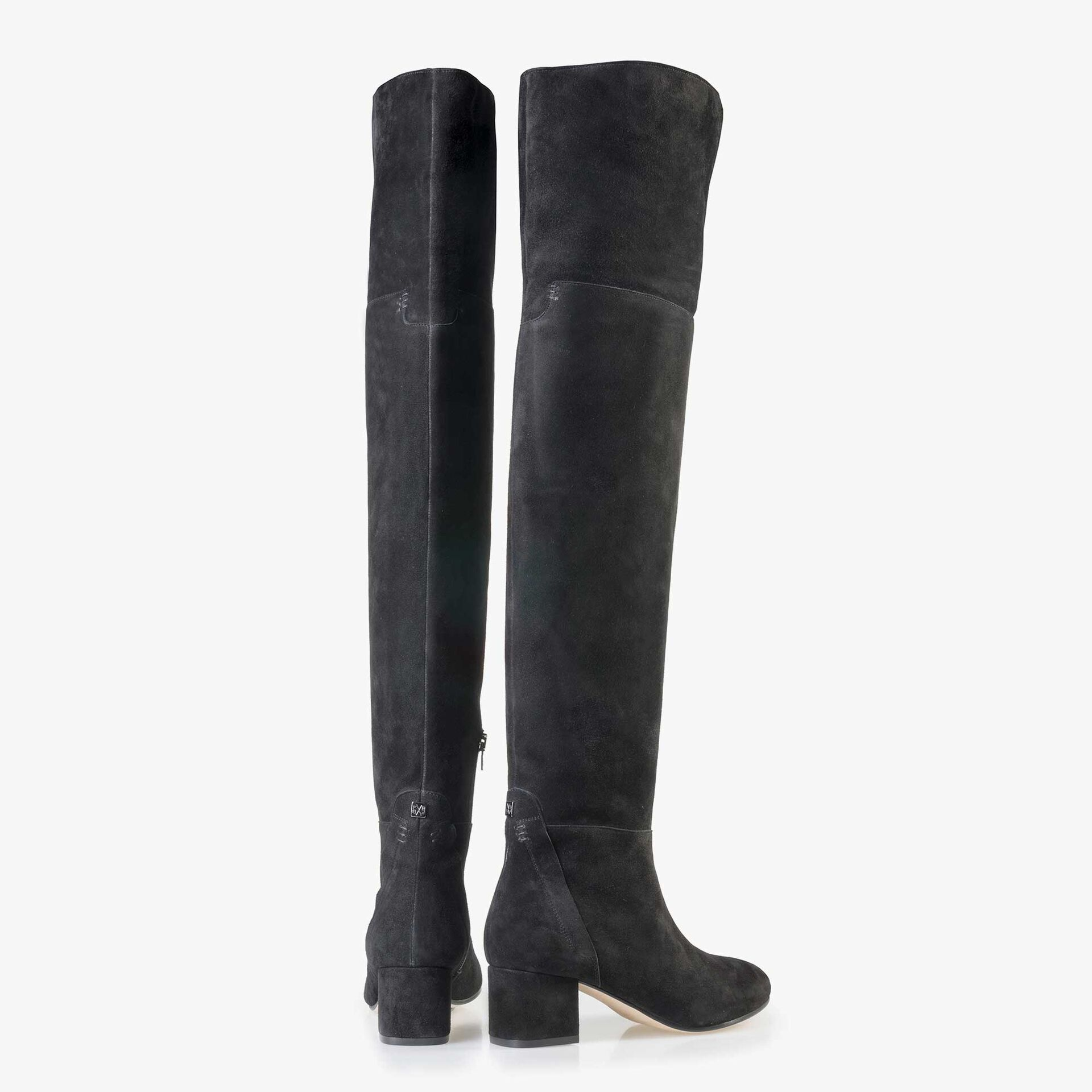 Floris van Bommel women's black suede leather over knee boots