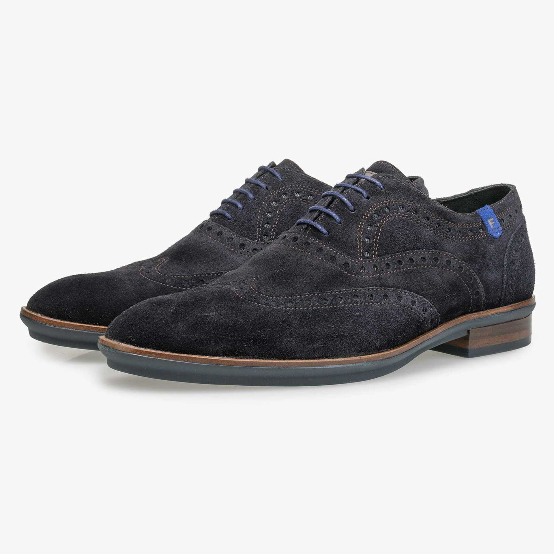Blue brogue suede leather lace shoe