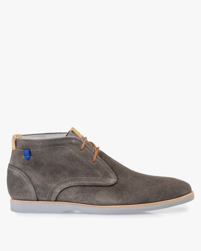 Boot suede leather dark grey