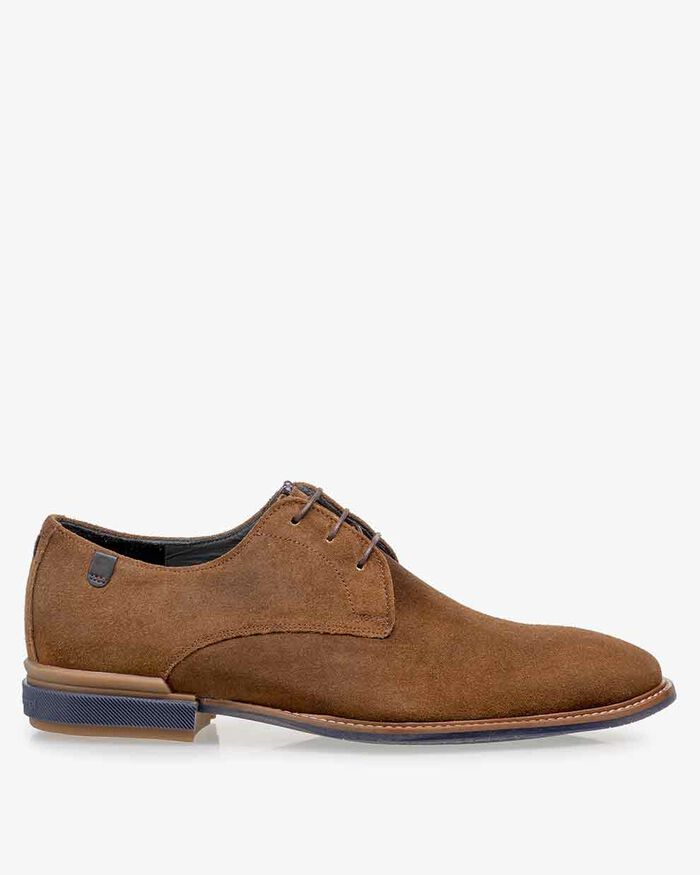 Lace shoe cognac suede leather