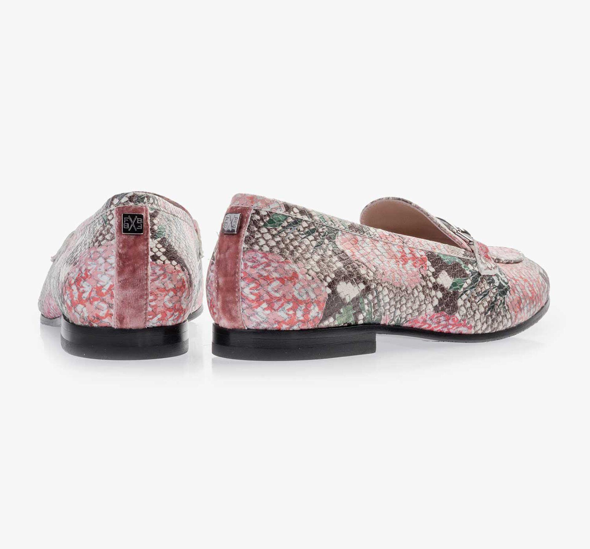 Multicolour leren loafer met print