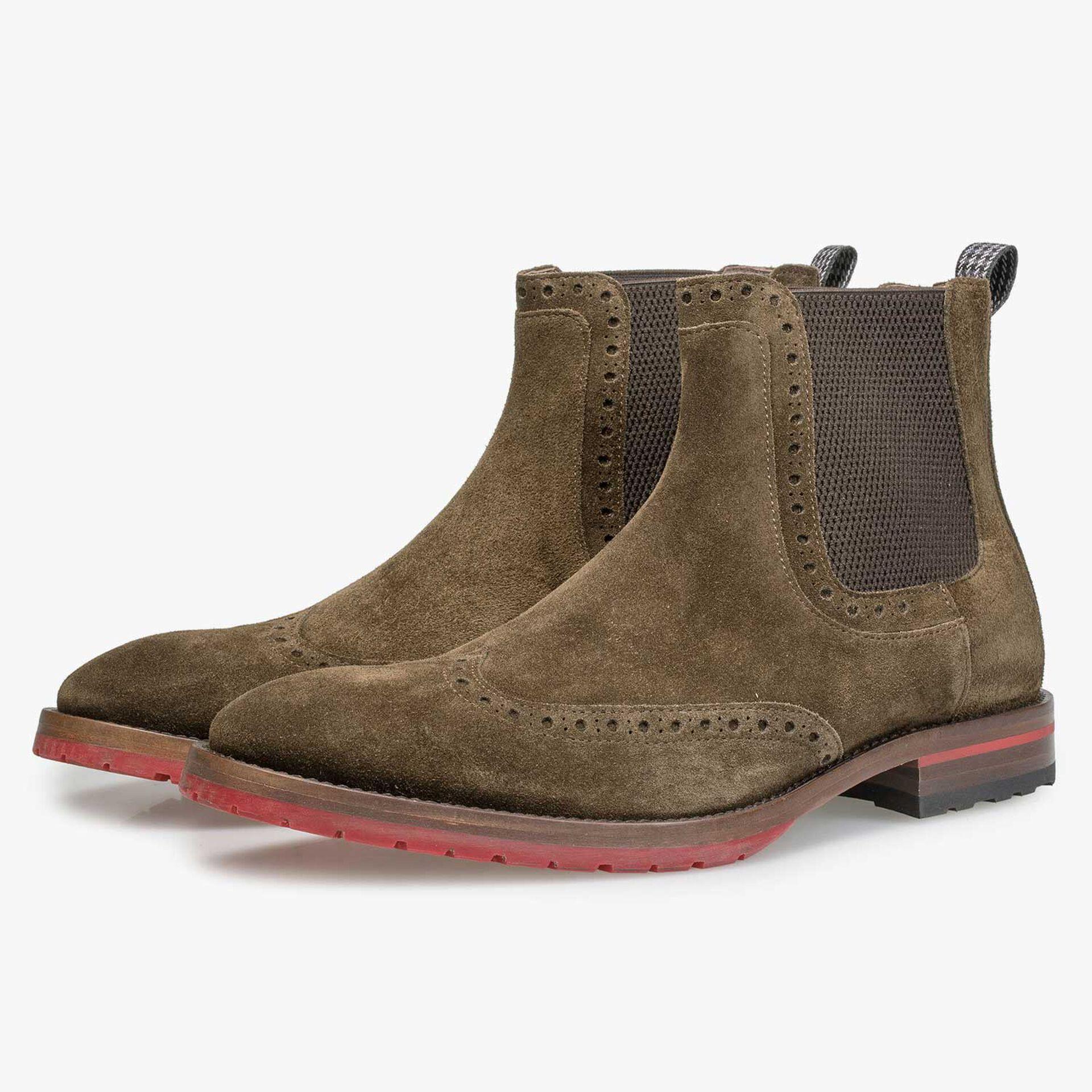 Bruin/olijfgroene kalfssuède chelsea boot