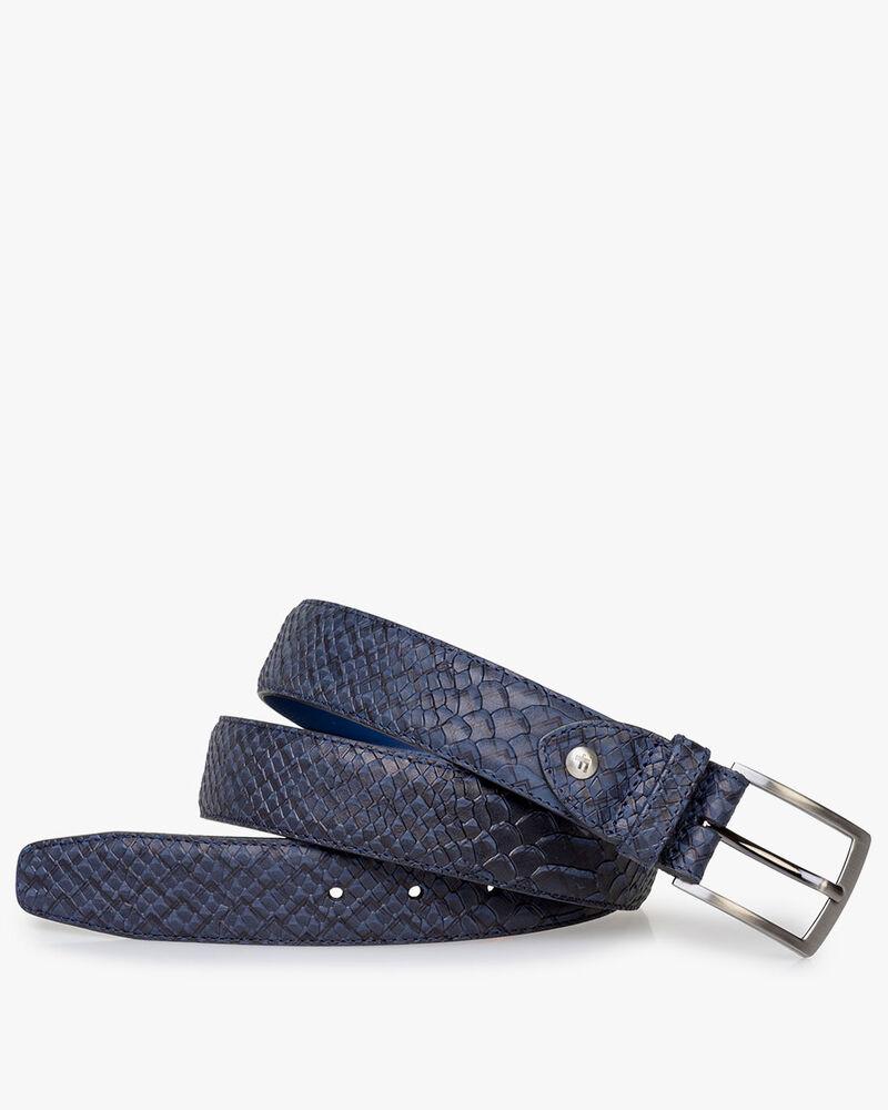 Belt blue nubuck leather